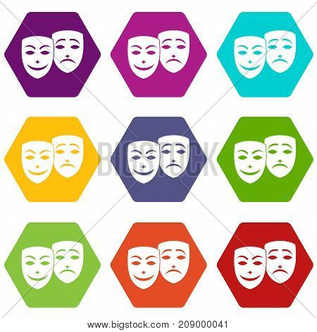 Carnival mask icon set many color hexahedron isolated on white vector illustration