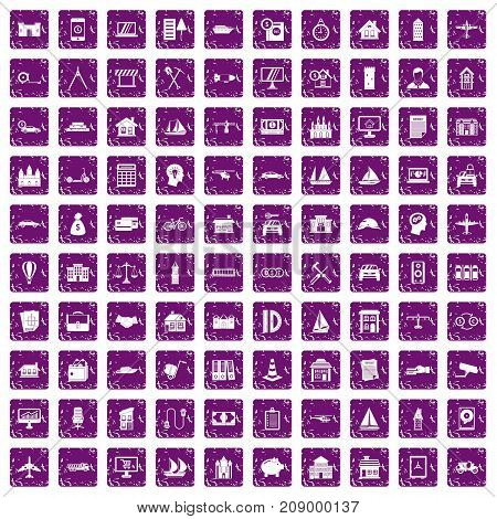 100 private property icons set in grunge style purple color isolated on white background vector illustration