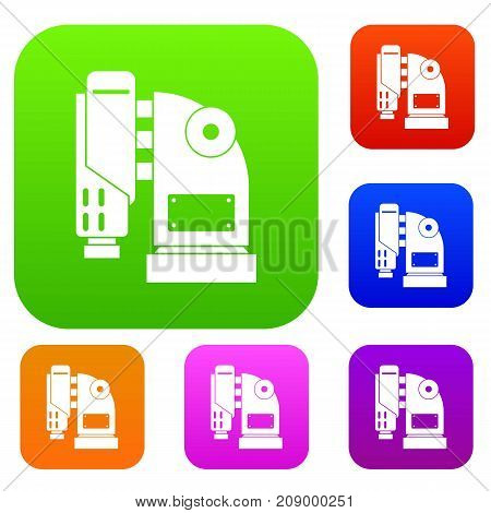 Pneumatic hammer machine set icon color in flat style isolated on white. Collection sings vector illustration