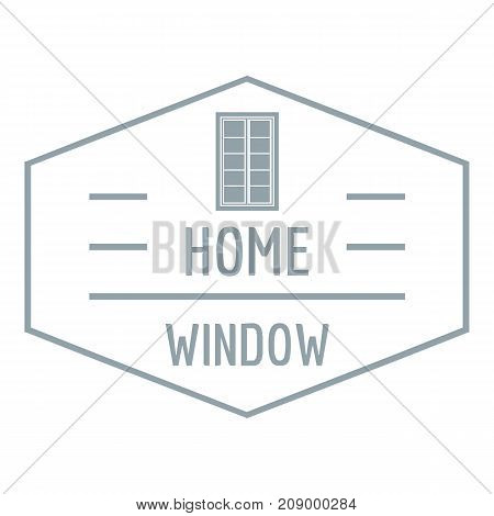 Home window logo. Gray monochrome illustration of home window vector logo for web