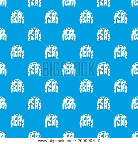 Camouflage jacket pattern repeat seamless in blue color for any design. Vector geometric illustration