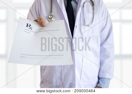 Medicine Doctor Patient Healthcare Concept Contraception Rx Prescription Form In Drug Store Pharmaci