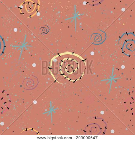 Cute Seamless Pattern with stars and galaxies