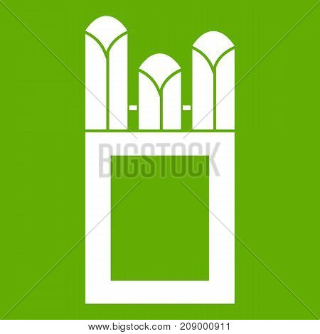 Chalks in carton box icon white isolated on green background. Vector illustration