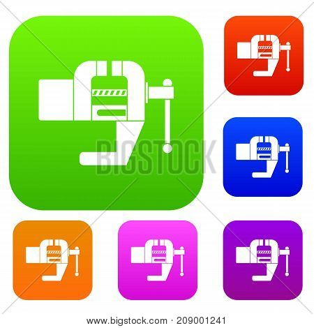 Vise tool set icon color in flat style isolated on white. Collection sings vector illustration