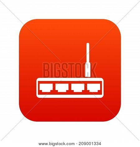 Router icon digital red for any design isolated on white vector illustration