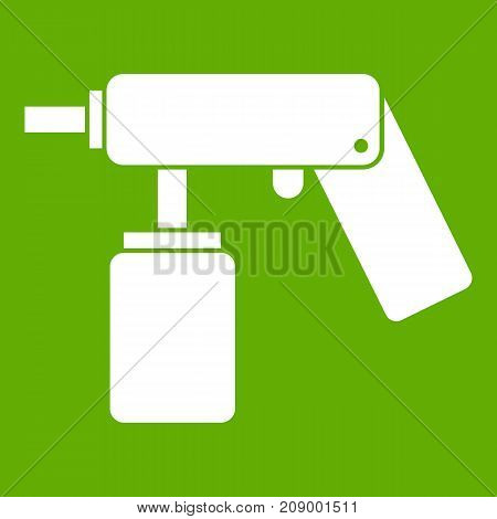 Spray aerosol can bottle with a nozzle icon white isolated on green background. Vector illustration