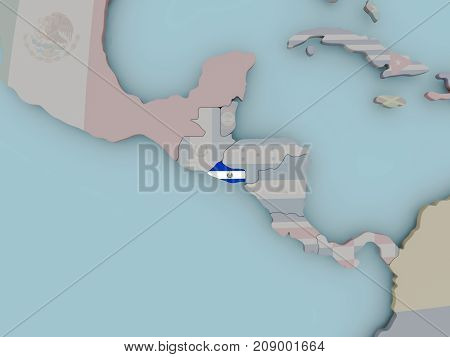 El Salvador On Political Globe With Flag