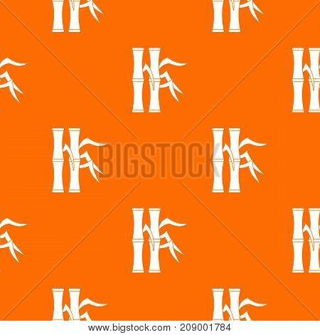 Bamboo stems pattern repeat seamless in orange color for any design. Vector geometric illustration