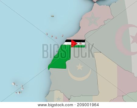 Western Sahara On Political Globe With Flag