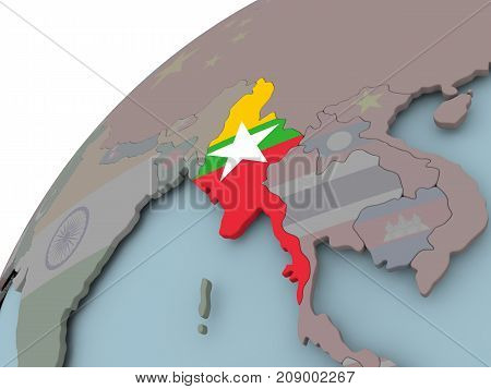 Map Of Myanmar With Flag