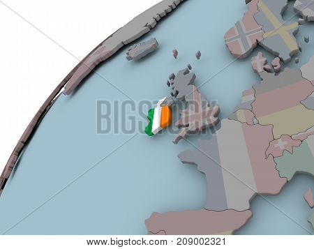 Map Of Ireland With Flag