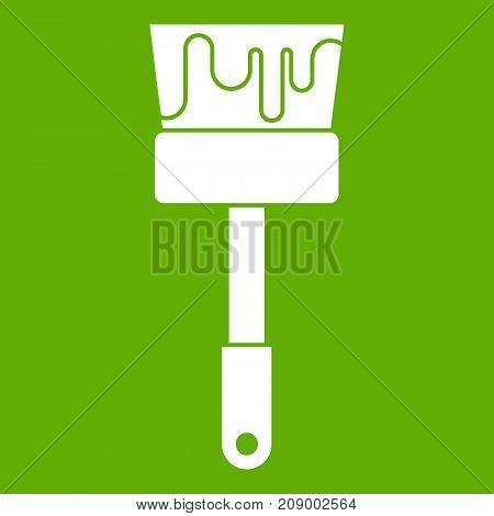 Paint brush icon white isolated on green background. Vector illustration