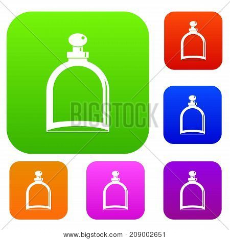 White glass bottle with perfume set icon color in flat style isolated on white. Collection sings vector illustration