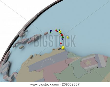 Map Of Caribbean With Flag