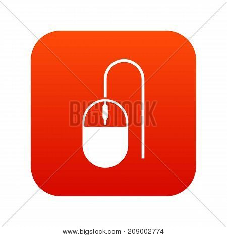 Computer mouse icon digital red for any design isolated on white vector illustration