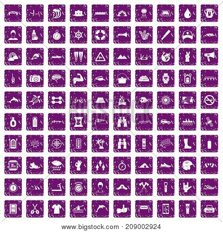 100 rafting icons set in grunge style purple color isolated on white background vector illustration