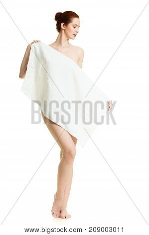 Naked Woman Hiding Behind Towel After Bath