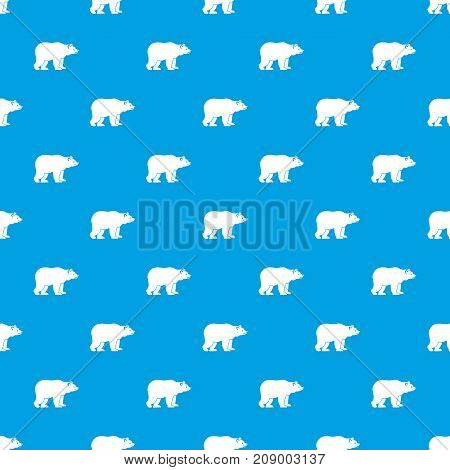 Bear pattern repeat seamless in blue color for any design. Vector geometric illustration