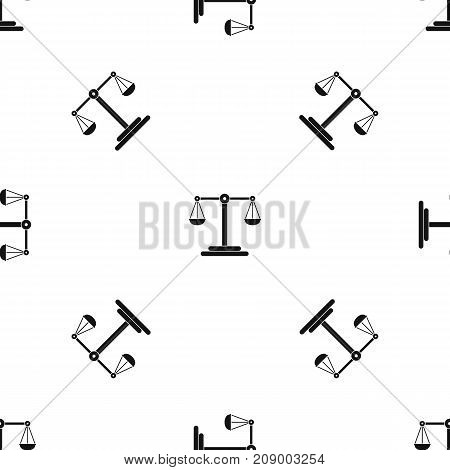 Scales balance pattern repeat seamless in black color for any design. Vector geometric illustration