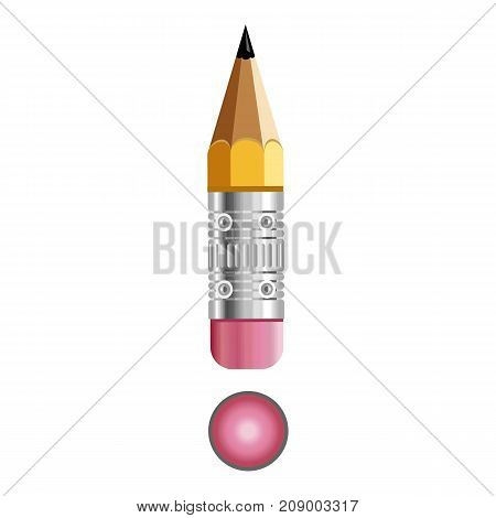 Sign exclamation mark pencil icon. Cartoon illustration of sign exclamation mark pencil vector icon for web