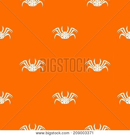 Live crab pattern repeat seamless in orange color for any design. Vector geometric illustration