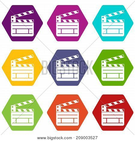 Clapperboard icon set many color hexahedron isolated on white vector illustration