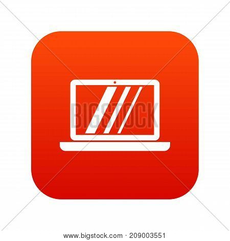 Laptop icon digital red for any design isolated on white vector illustration