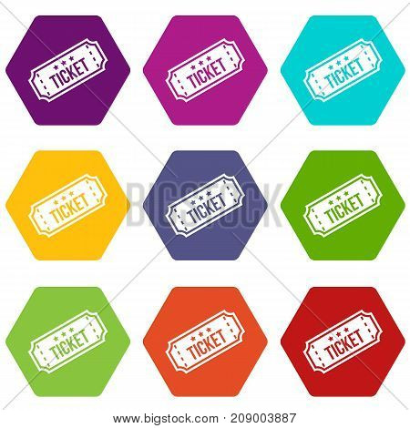 Movie ticket icon set many color hexahedron isolated on white vector illustration