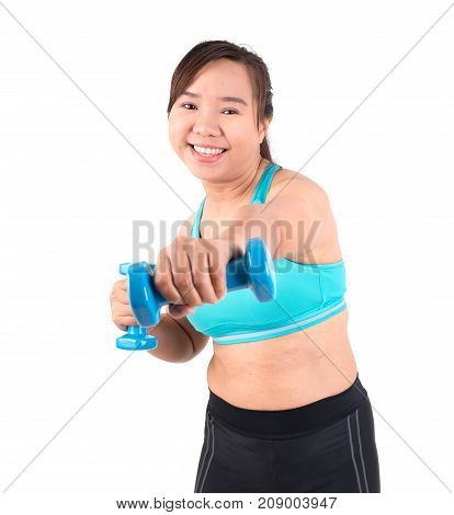 Asian Chubby Woman Exercise