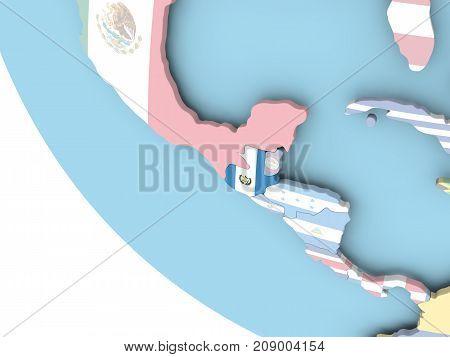 Guatemala With Flag On Globe