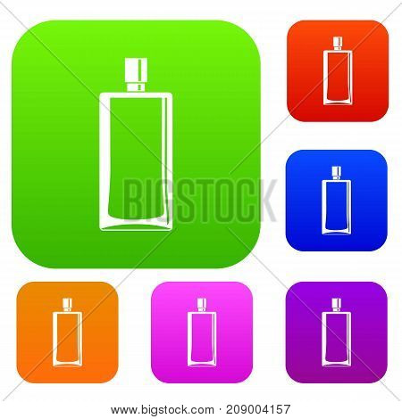 Scent bottle set icon color in flat style isolated on white. Collection sings vector illustration