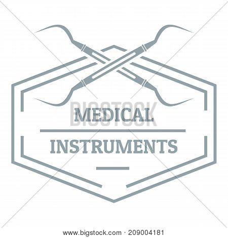 Medical instrument logo. Gray monochrome illustration of medical instrument vector logo for web