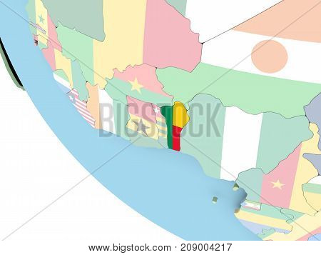 Benin With Flag On Globe