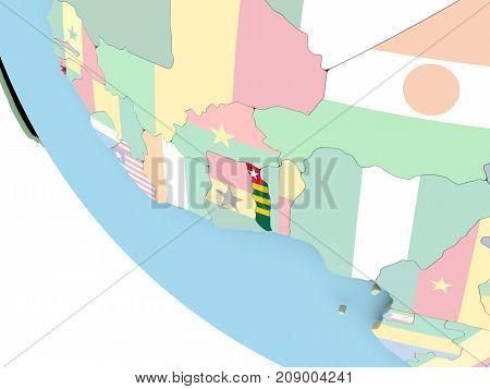 Togo With Flag On Globe