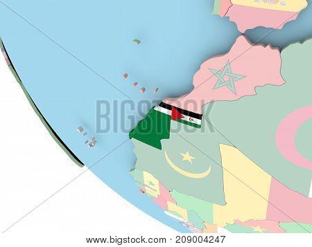 Western Sahara With Flag On Globe