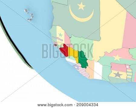 Guinea With Flag On Globe
