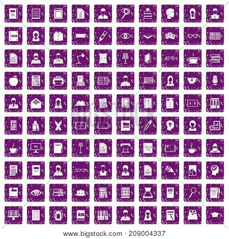 100 reader icons set in grunge style purple color isolated on white background vector illustration