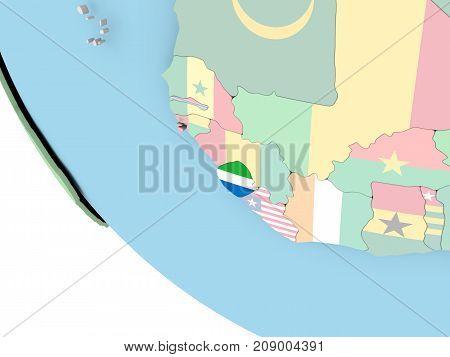 Sierra Leone With Flag On Globe