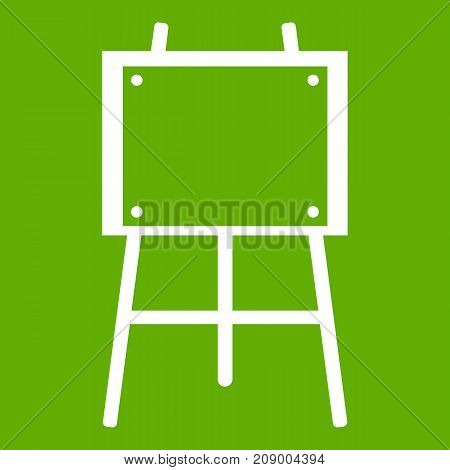 Wooden easel icon white isolated on green background. Vector illustration