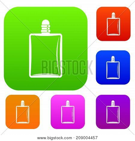 Bottle of female perfume set icon color in flat style isolated on white. Collection sings vector illustration