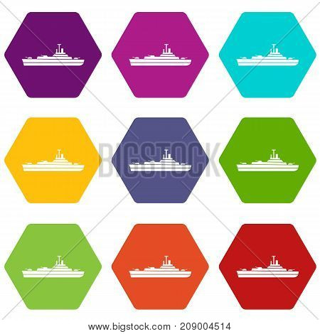 Warship icon set many color hexahedron isolated on white vector illustration