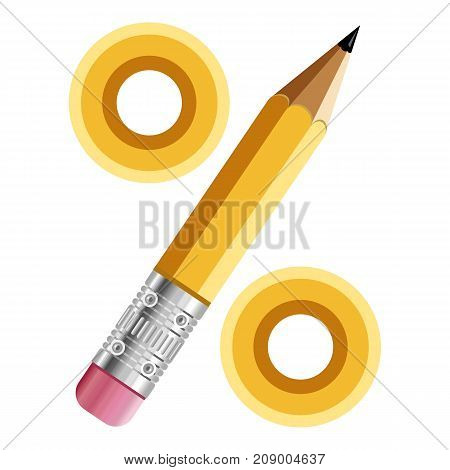 Sign percent pencil icon. Cartoon illustration of sign percent pencil vector icon for web