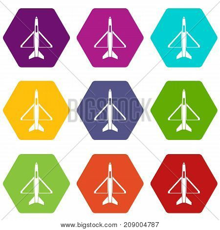 Military aircraft icon set many color hexahedron isolated on white vector illustration
