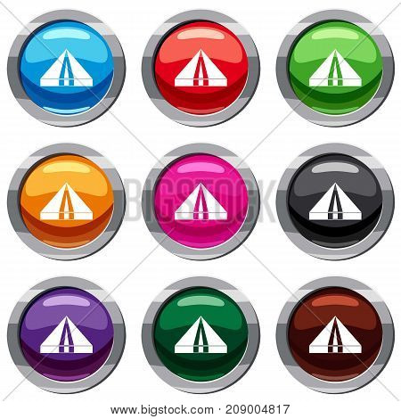 Tourist camping tent set icon isolated on white. 9 icon collection vector illustration