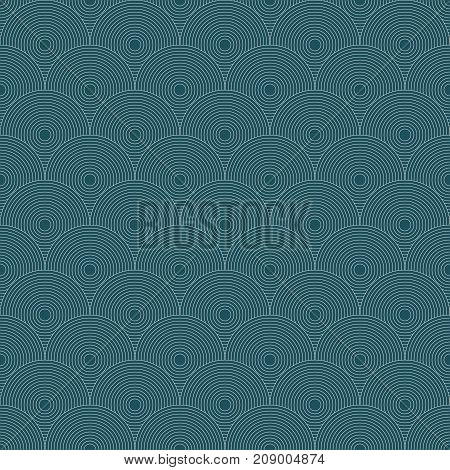 Traditional Japanese seamless pattern. Blue colored fish squama. Mermaid scales. Stock vector