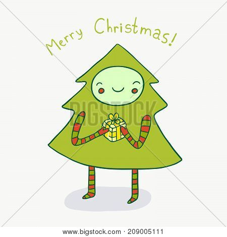 Lovely Christmas tree is happy with the gift. Cute holiday illustration.