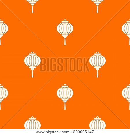 Chinese lantern pattern repeat seamless in orange color for any design. Vector geometric illustration