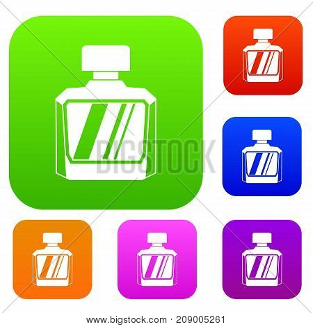 Jar of perfume set icon color in flat style isolated on white. Collection sings vector illustration