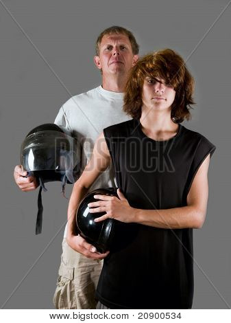 Father and son bikers